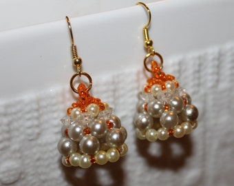 White, grey & orange beadweaving-earrings