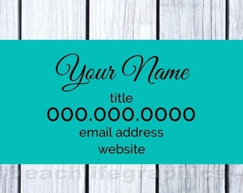 White & Teal  Business Card