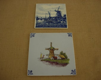 Delft Blue and Polychrome Hand Painted  Tiles