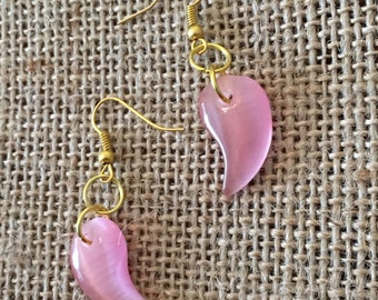 Beautiful Pink Drop Stone Earrings with golden accents