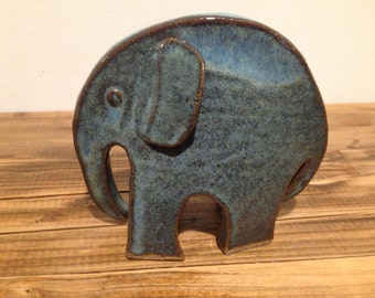 ceramic blue/turquise elephant hand made
