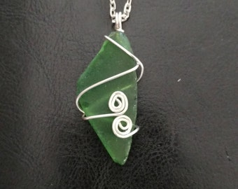 Green Beach Glass Pendant Necklace:Medium Size