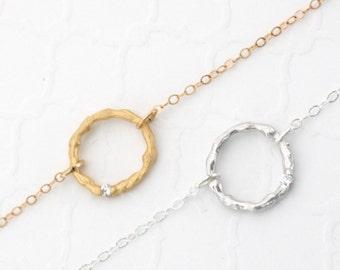 Christmas Gift Dainty Circle Bracelet for Mom, Gold Eternity Bracelet, Karma Bracelet, Best Friend Bracelet, Delicate Gold Bracelet, Silver