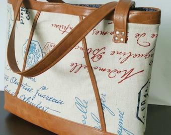Brown Faux Leather Handbag, Tote Bag, Travel Bag, Diaper Bag, Laptop Bag, Large Handbag, Work Bag, Tan Brown Print, Gifts for her, Gift Idea