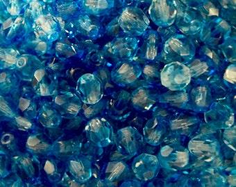 Czech Beads 6mm Crystal/Aqua - Czech Glass Beads for Jewelry Making - 6mm Firepolish Beads - Czech Seed Beads - Czech Round Beads 50 Beads