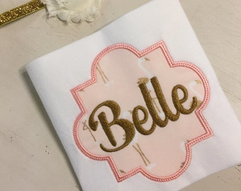 Flamingo Pink, Gold and Cream Onesie & Headband // Baby Girl Coming Home Outfit // Monogrammed Newborn Onesie and Headband