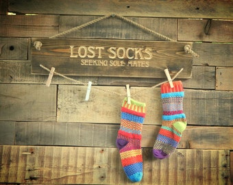 Handcrafted Lost Socks Carved Wood Sign