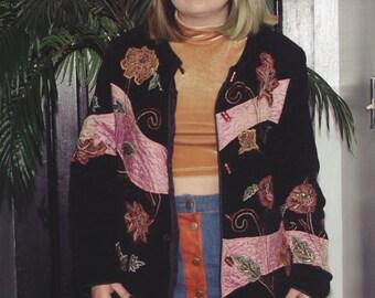 Vintage Indigo Moon Embroided Jacket Sz.S