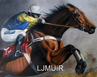 Steeplechase horse art drawing for sale.