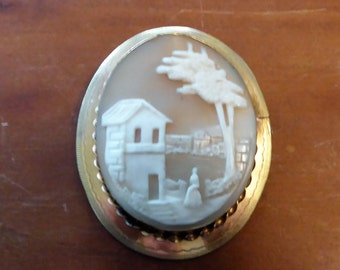 Antique Victorian Gold Filled Carved Scenic Shell Cameo Pin Brooch