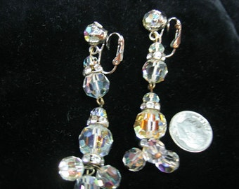 Vintage Chandelier Crystal & Rhinestone Earrings