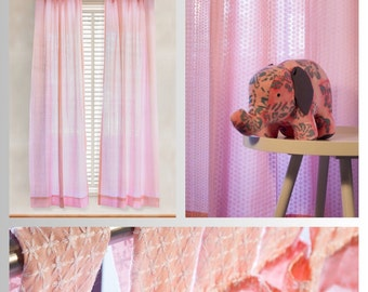 Pink Lace Cotton Curtains