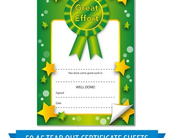 50x A5 Great Effort Green Tear Out Home Notes certificates