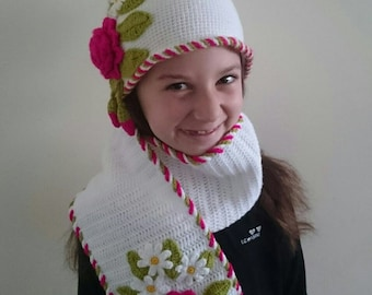 Handmade crochets girls hat and scarf -free shipping Made to order with various size and colours