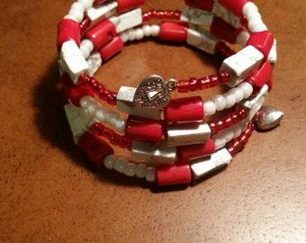 Red & white beaded wrap bracelet