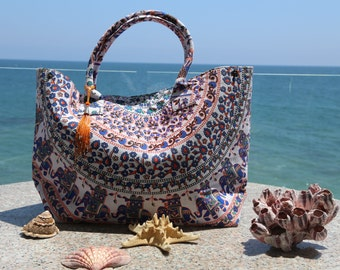 Mandala Beach Bag with tassel/ orange/blue/white