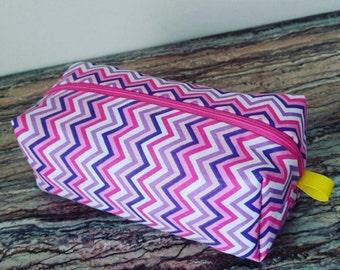 Pink & Purple Zigzag Craze Zippered Pouch Bag