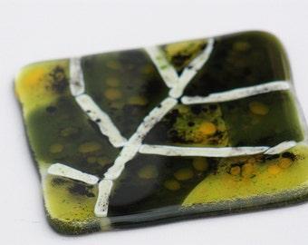 Fused glass green leaf coaster