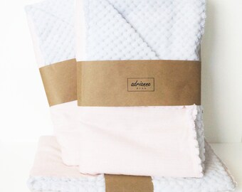 Light Pink Waffle Chenille Baby Blanket