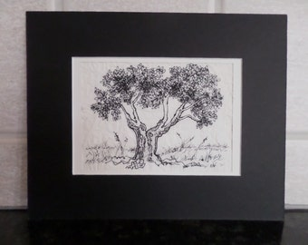 Original Pen and Ink on dried Cotton fiber