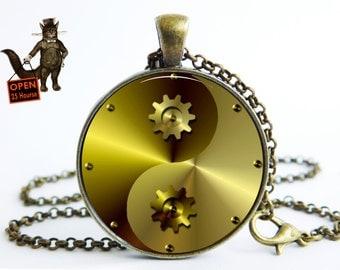 Yin Yang steampunk pendant , Yin Yang steampunk necklace, Yin Yang steampunk  jewelry,He and she gift, birthday Art pendant necklace Jewelry