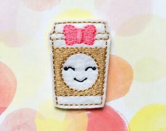 Felties, Coffee Felties, Latte Felties, Kawaii Felties, Felt Applique, Embroidered Applique, Food Felties
