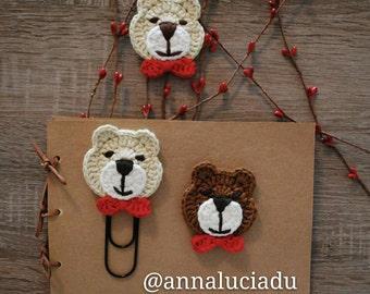 Handmade bear bookclips/2 sets