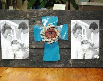 Black reclaimed wood metal cross picture frame