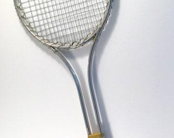 Vintage Willson Tennis Racket, Metal Tennis Racket, Tennis Decor, Retro Decor,Teal Color Racket,Made in the USA, Vintage Tennis Racket