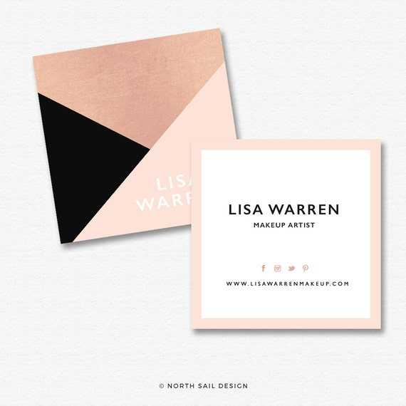 Premade Square Business Card Design Print Ready gold foil