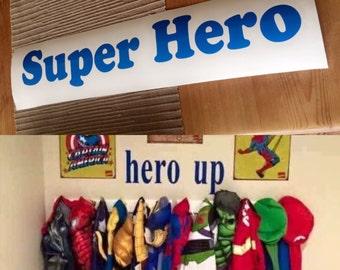 Super Hero/Hero Up Wall Art Sticker Sign for Boys Fancy Dress