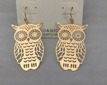 Lasercut Owl Drop earring
