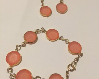 Pink Jewel Bracelet & Earrings Set