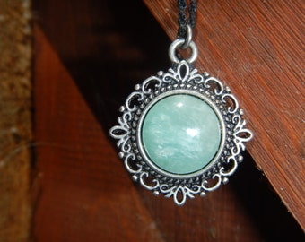Necklace Amazonite on Medallion silver Baroque