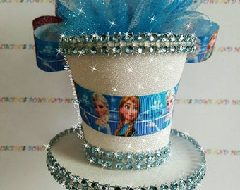 Frozen Hair Bow, Frozen Mini Top Hat, Elsa and Anna Hair Bow, Elsa and Anna Mini Top Hat, Frozen, Elsa, Anna