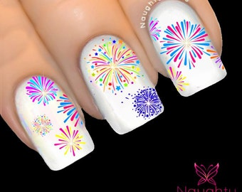 Fireworks NEW YEAR Party Christmas Nail Water Transfer Decal Sticker New Years Eve Tattoo NNC-117