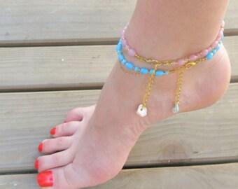 Ankle bracelet - glass pink / blue