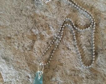 Small Light Blue Sea Glass pendant