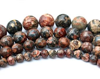 Leopard Skin Jasper, Smooth Round Beads, Jade Beads, DIY Jewelry, Semi Precious Stones, 4 6 8 10 12mm, (OB017)