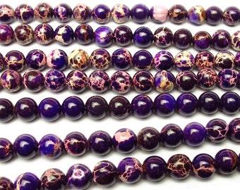 Purple Imperial Jasper, Emperor stone, Imperial Jasper Beads, Round Beads, Jade Beads, DIY Jewelry, 6 8 10 mm, (OB029)