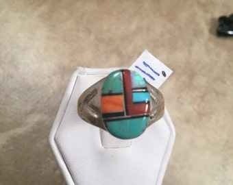 ON SALE Vintage Zuni Sterling Silver & Multi Stone Inlay Men's Ring Size 11.5