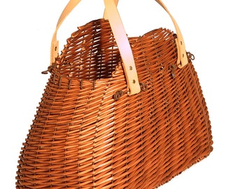 Half-moon natural Wicker Cart bag