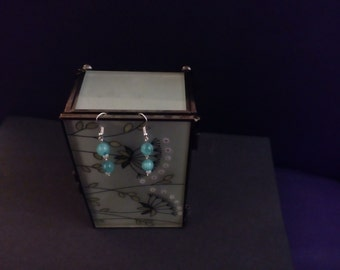 Turquoise and white pearl themed drop earrings