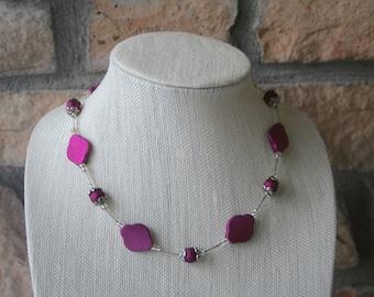 Matte Purple Necklace | Purple Jewelry | Beaded Necklace | Statement Necklace | Everyday Jewelry | Gifts for her | Handmade Jewelry
