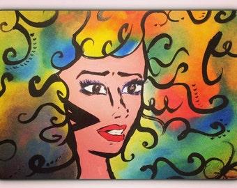 Pop art paint oil gouache painting