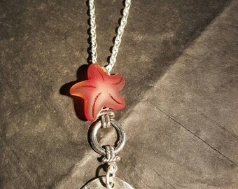 Red sea glass starfish necklace with a charm quote