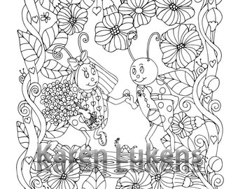 5 pages, Happyville Coloring Pack #6 , 5 Adult Coloring Book Pages, Printable Instant Download