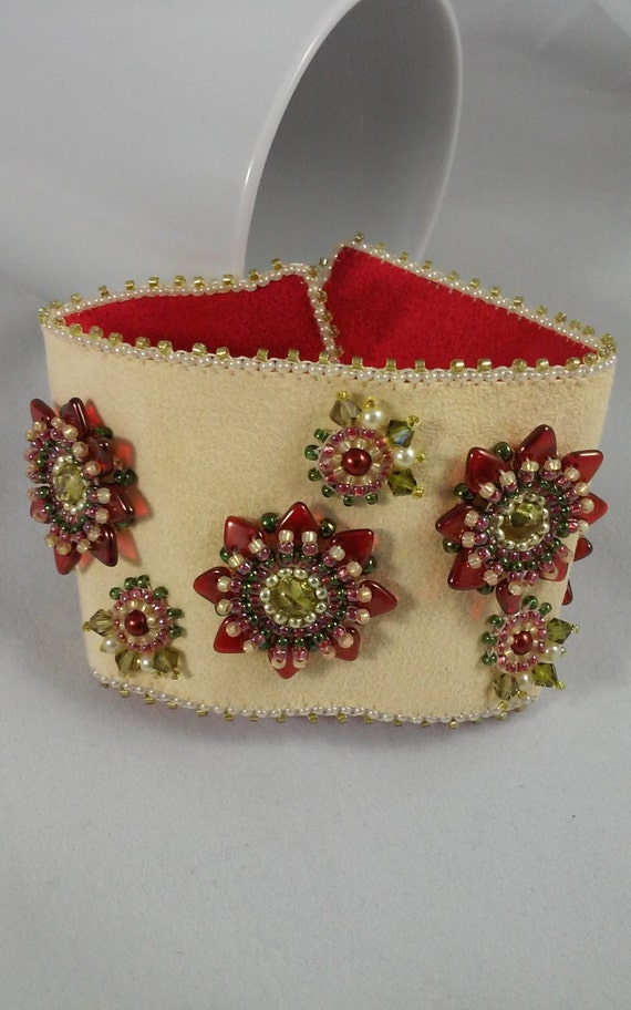 Seed bead embroidery cuff bracelet pale yellow ultra suede