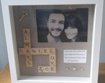 personalised scrabble frame with photo