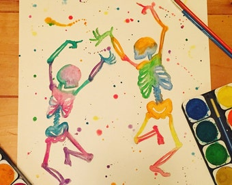 Colorful Dancing skeletons watercolor painting